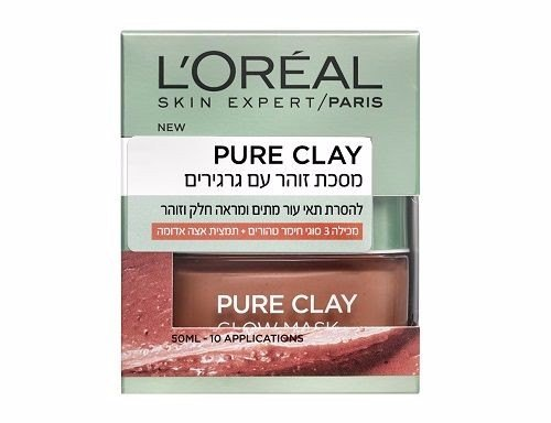 לוריאל מסכת זוהר עם גרגרים L'OREAL PURE CLAY