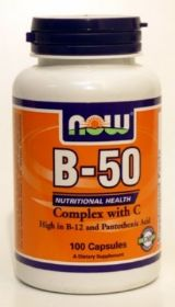 Vitamin B50 Complex 100 Tablets Now B-50 Tabs