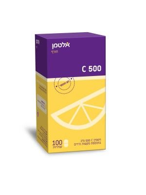 "ויטמין C ללעיסה 500 מ""ג  Altman Vitamin C 500mg אלטמן"