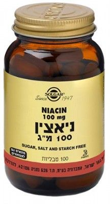 Niacin Vitamin B3 100mg 100 Tablets Solgar ויטמין B3- ניאצין