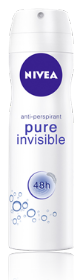 NIVEA  PURE INVISIBLE דאודורנט אנטי פרספירנט ספריי שקוף