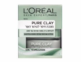 מסיכת חימר לטיהור העור לוריאל LOREAL PURE CLAY